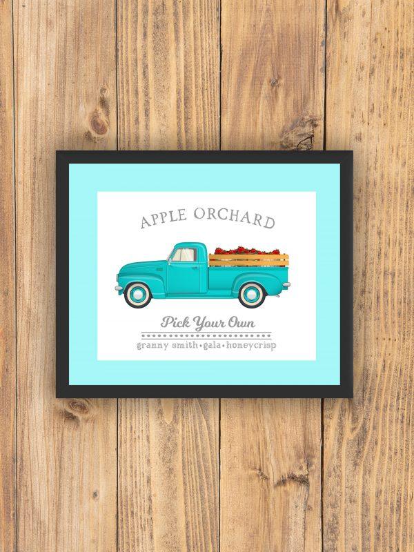apple orchard print teal frame
