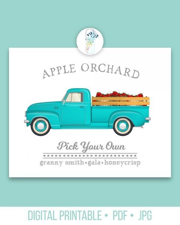 apple orchard digital printable