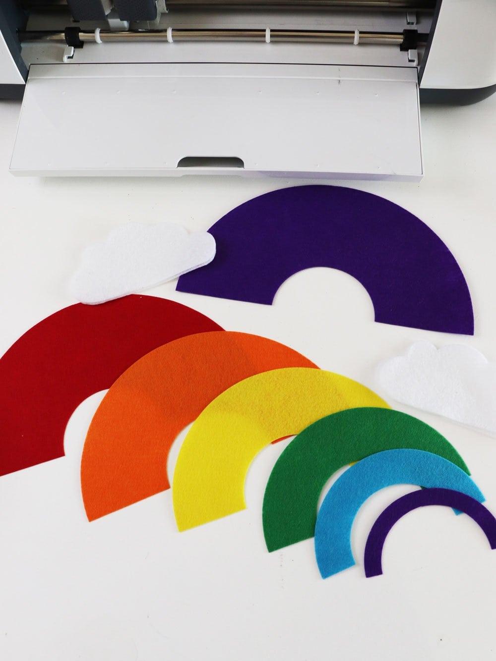 cut felt rainbow pieces with Cricut