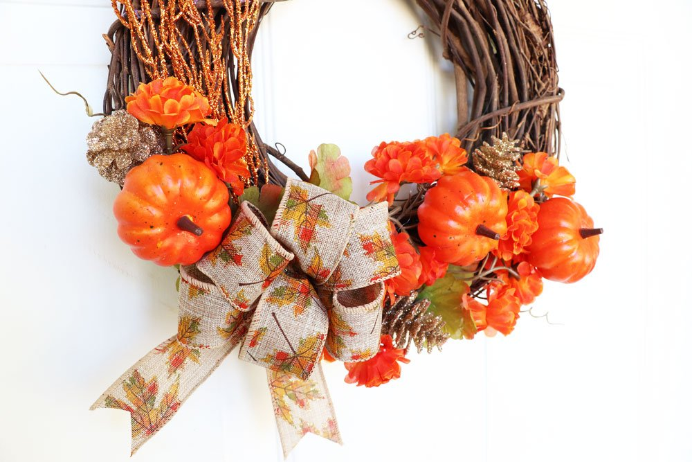 close up fall wreath