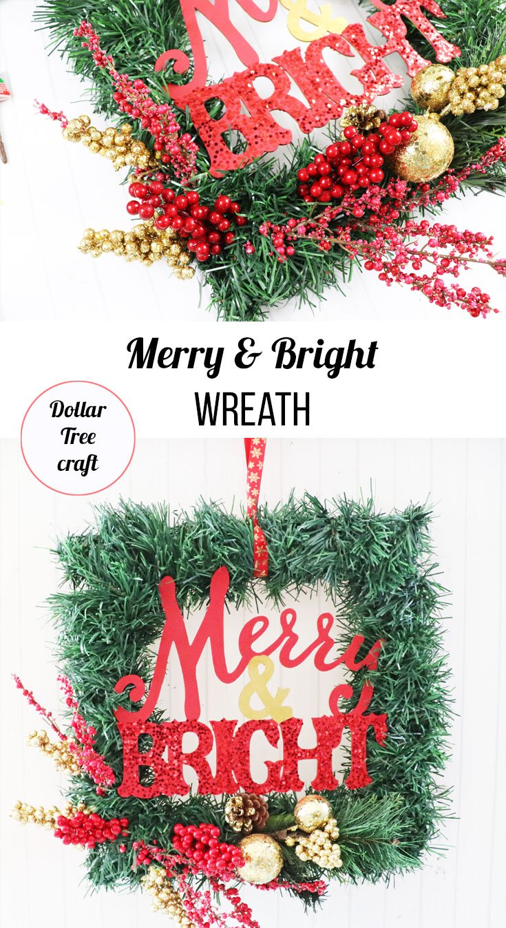 how to make merry & bright wreath