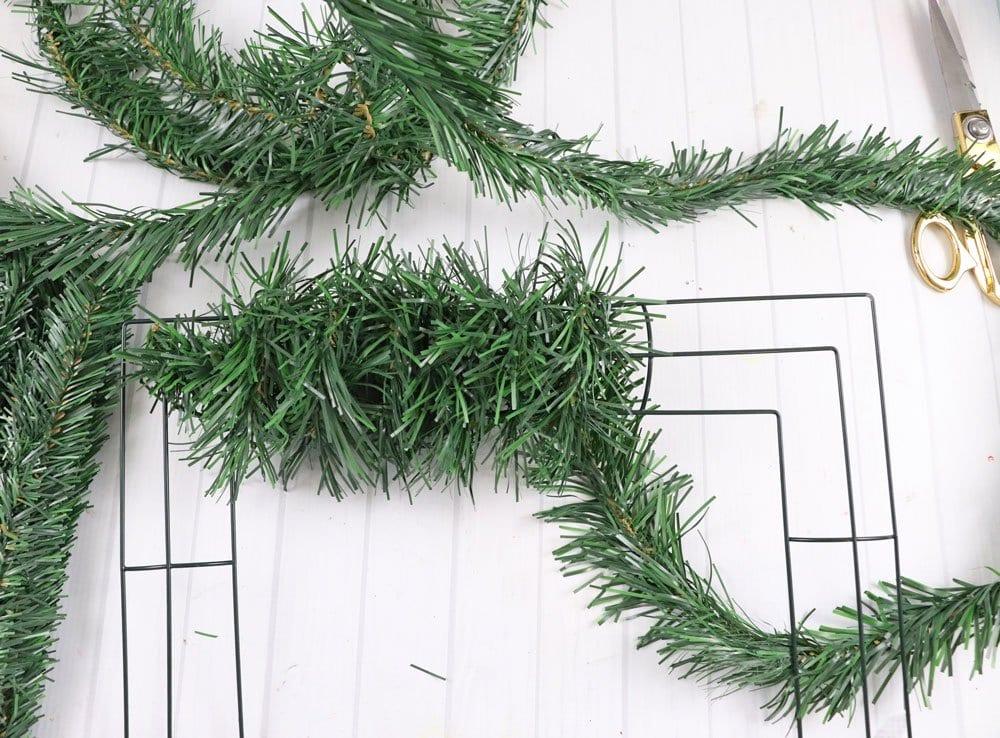 wrap garland around metal wreath