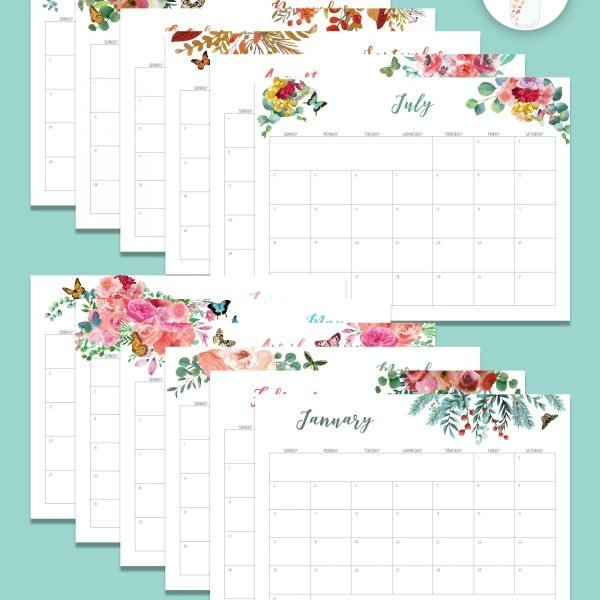 printable 2021 calendar watercolor floral