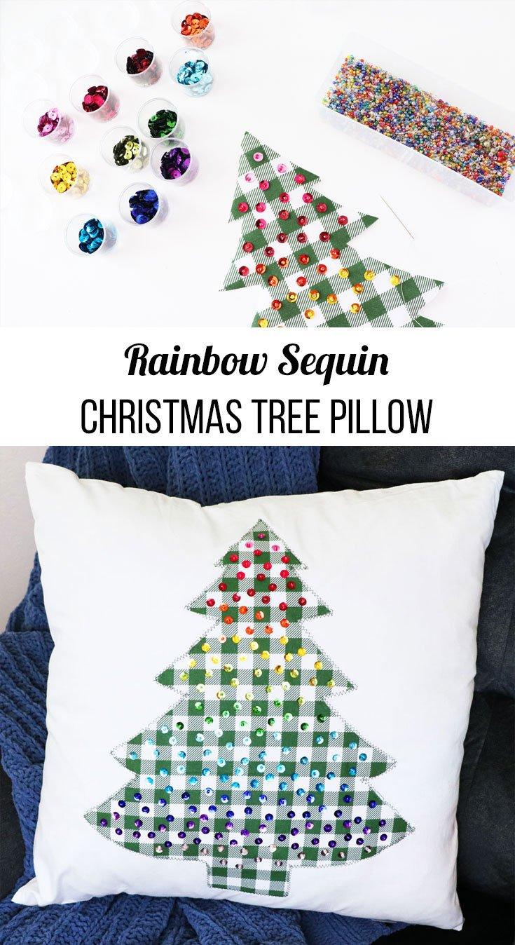 rainbow sequin Christmas tree pillow