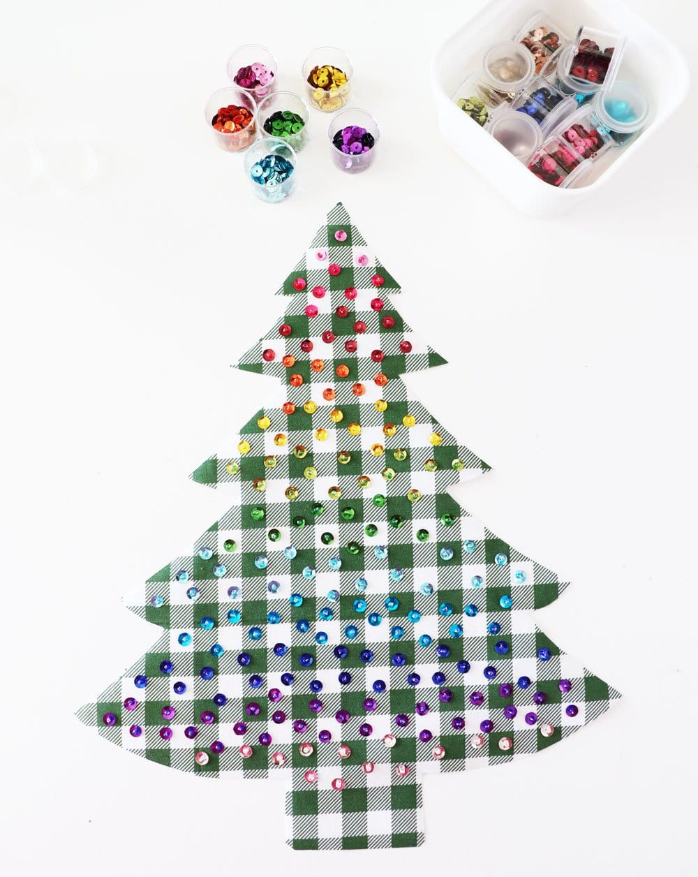 rainbow sequin Christmas tree
