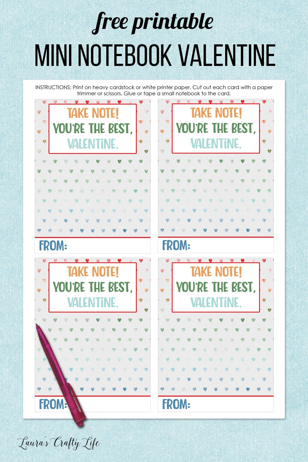 free printable mini notebook valentine