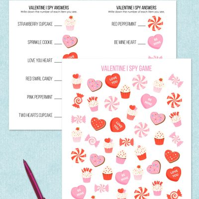 free printable valentine I spy game