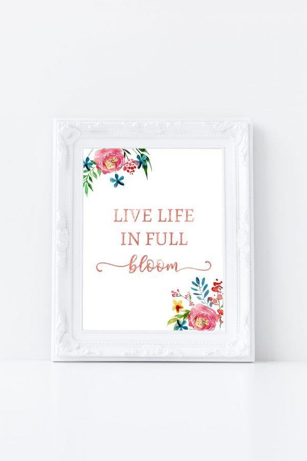 life in full bloom white frame mockup