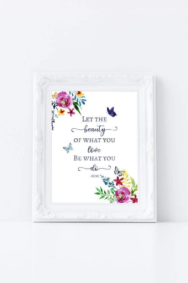 Rumi Let the Beauty white frame mockup