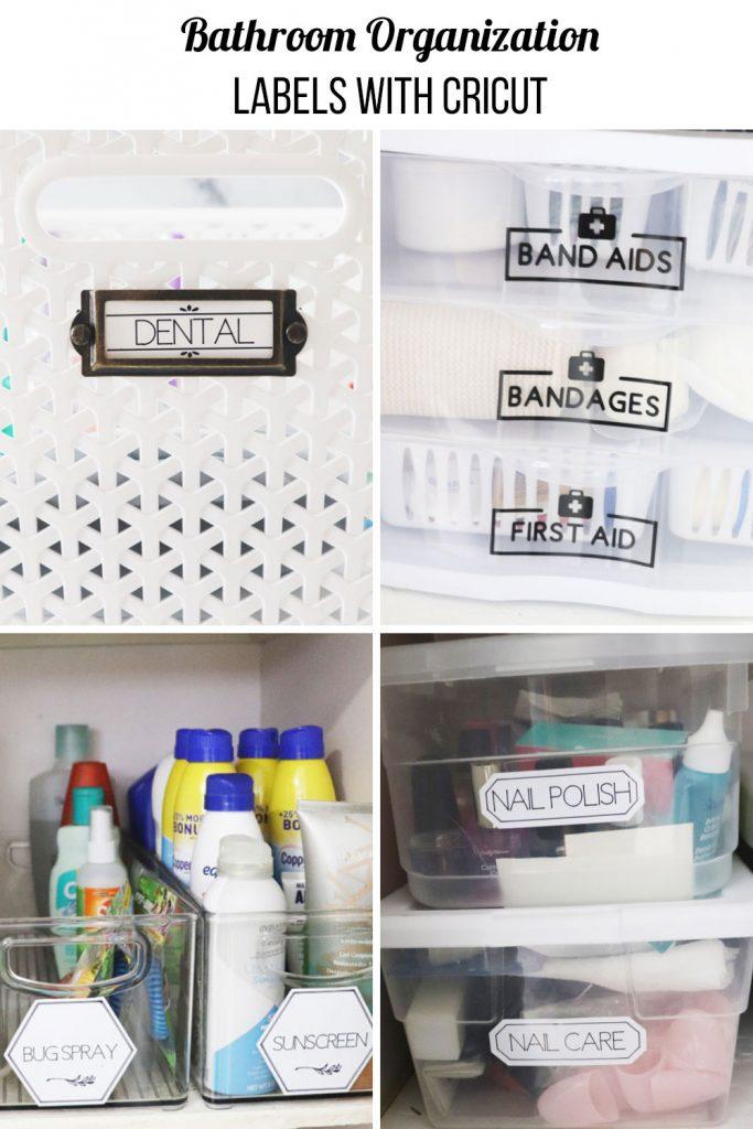 bathroom labels with Cricut