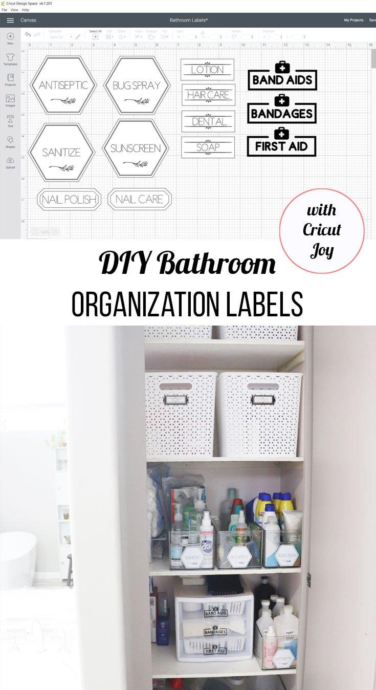 DIY bathroom organization labels with Cricut Joy