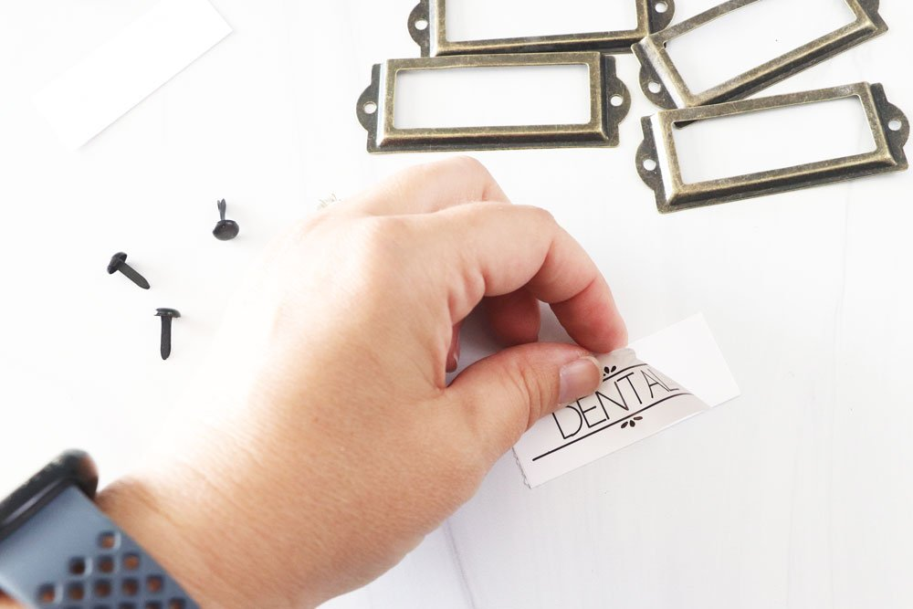 attach label to cardstock