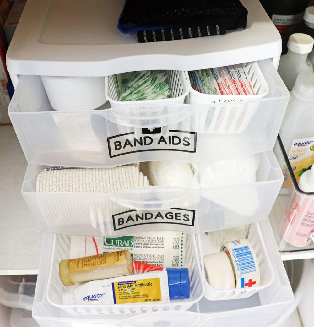 organized first aid supplies