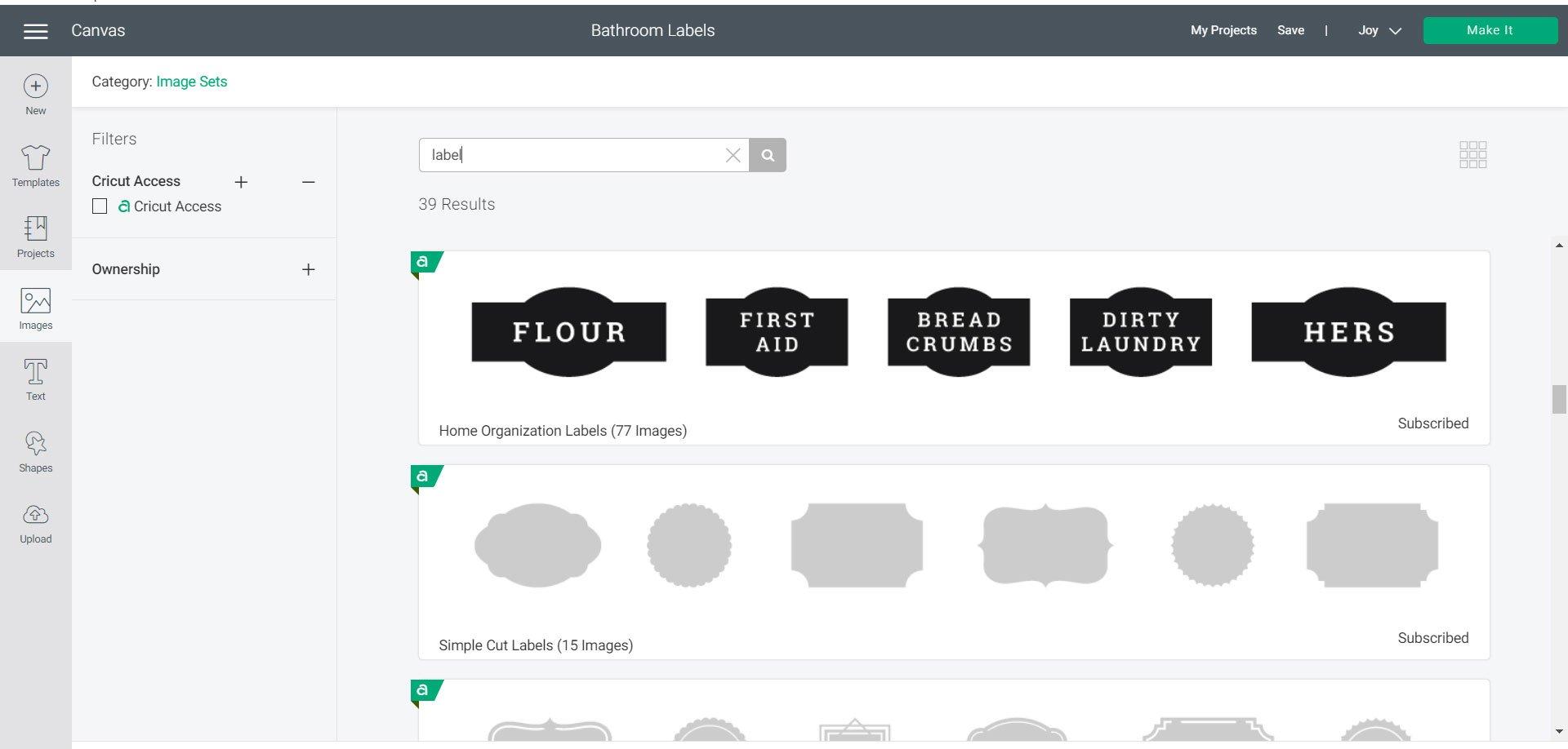 Cricut labels in image sets
