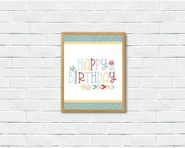 birthday stars brick wall mockup