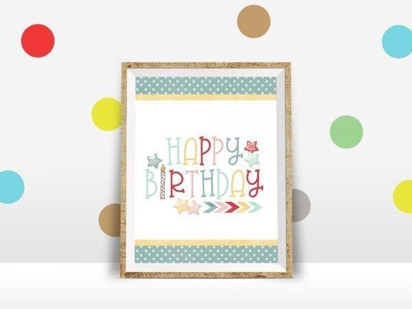 birthday stars polka dot wall mockup
