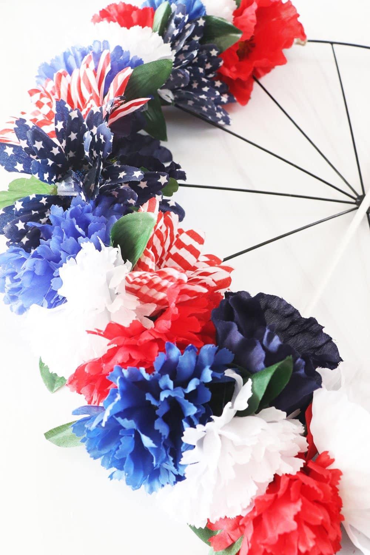 close up patriotic flowers