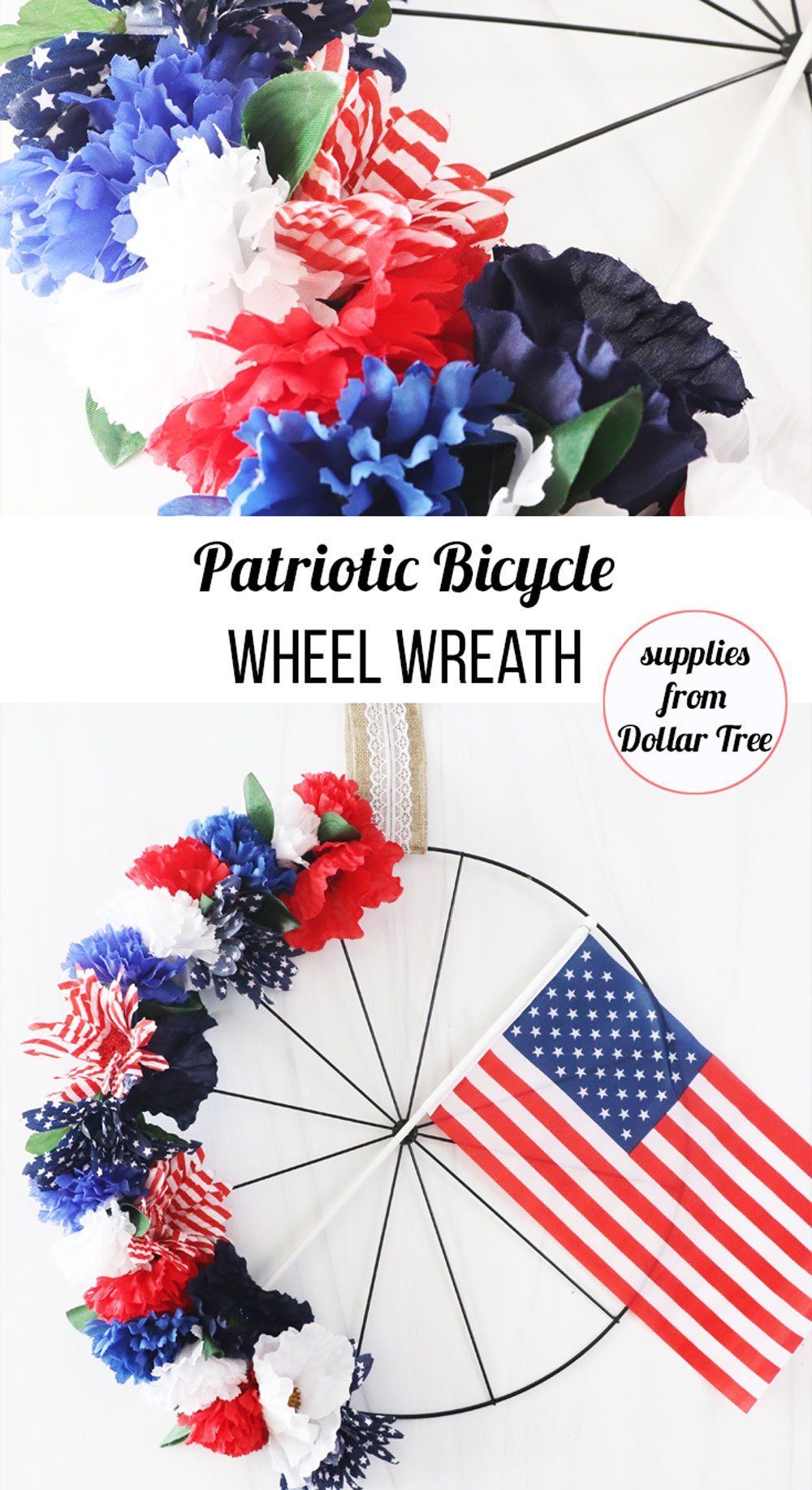how to make patriotic bicycle wheel wreath