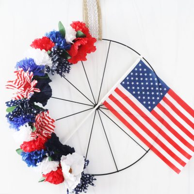 patriotic bicycle wheel wreath