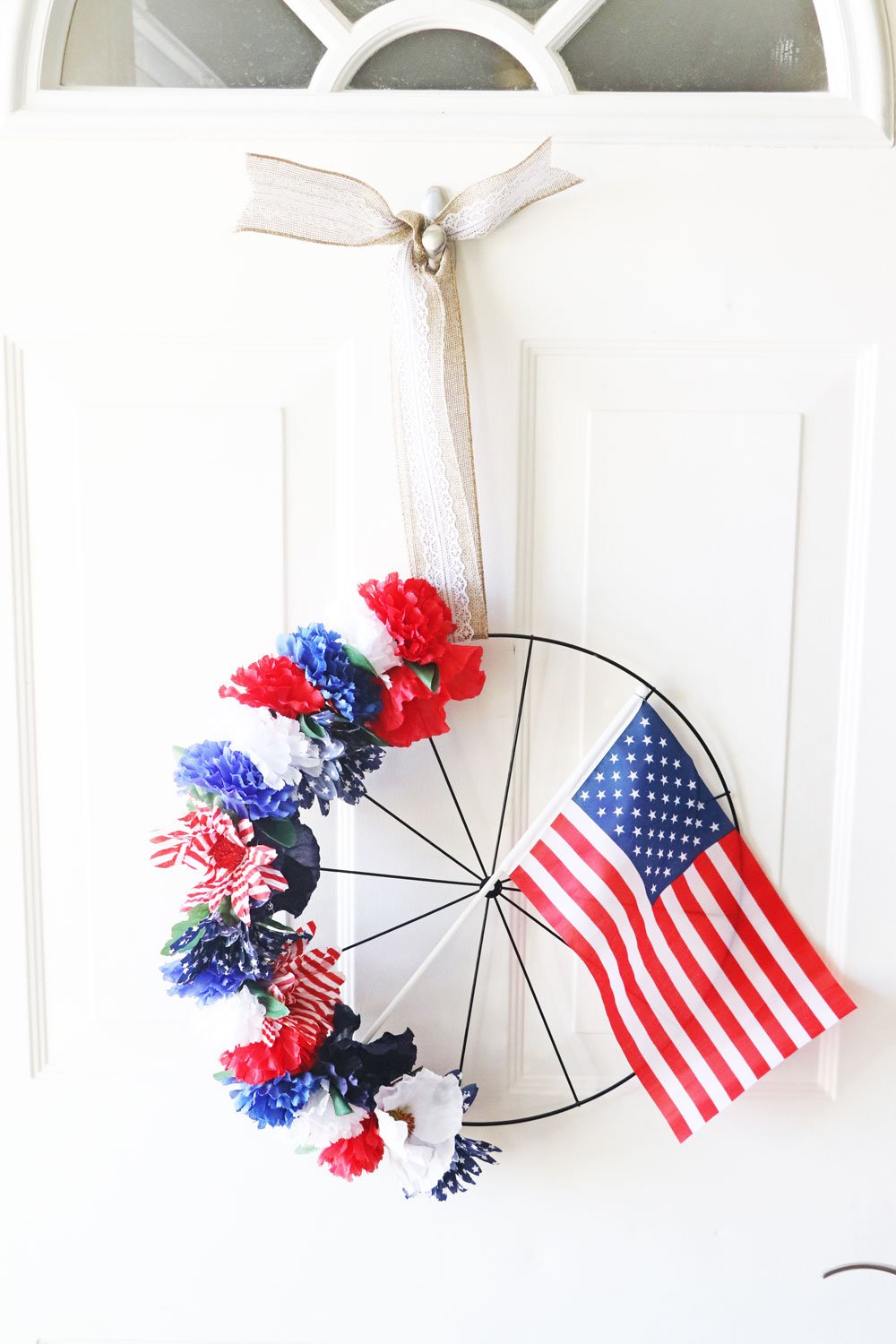 red white and blue bicycle wheel wreath