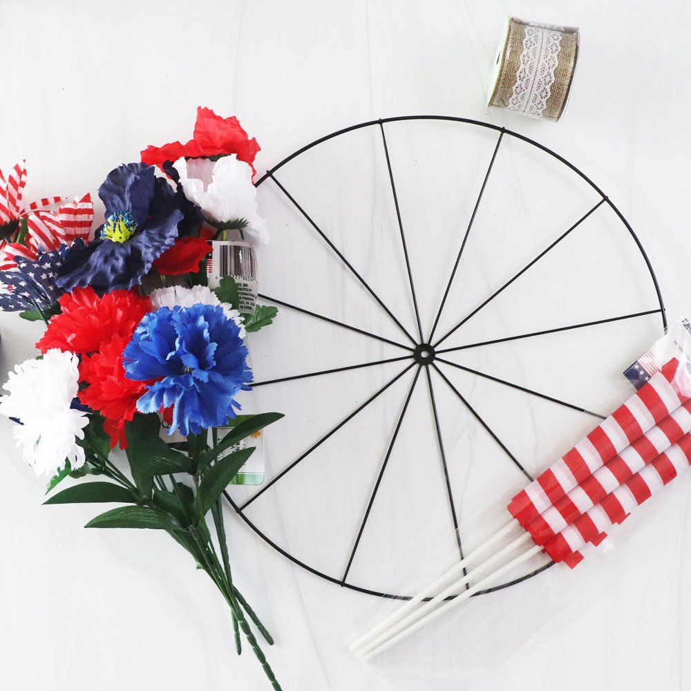 supplies for bicycle wheel wreath