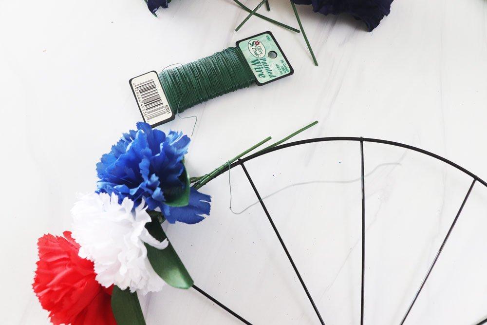 wire stems to wreath