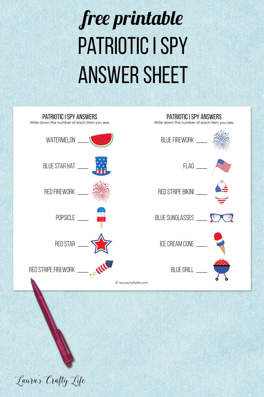 free printable patriotic i spy answer sheet