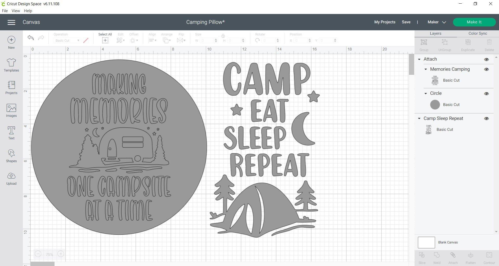 Cricut Design Space Camping Pillows