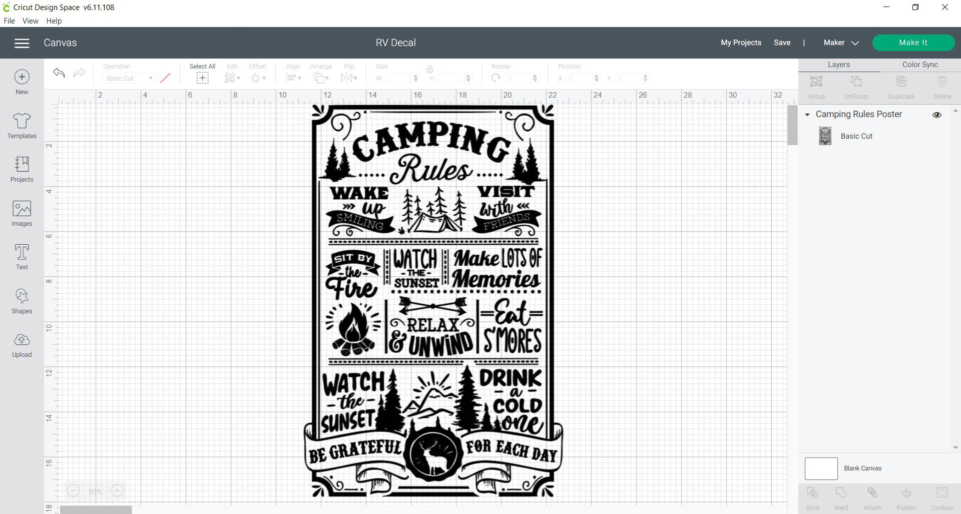 cricut design space camping rules rv vinyl decal