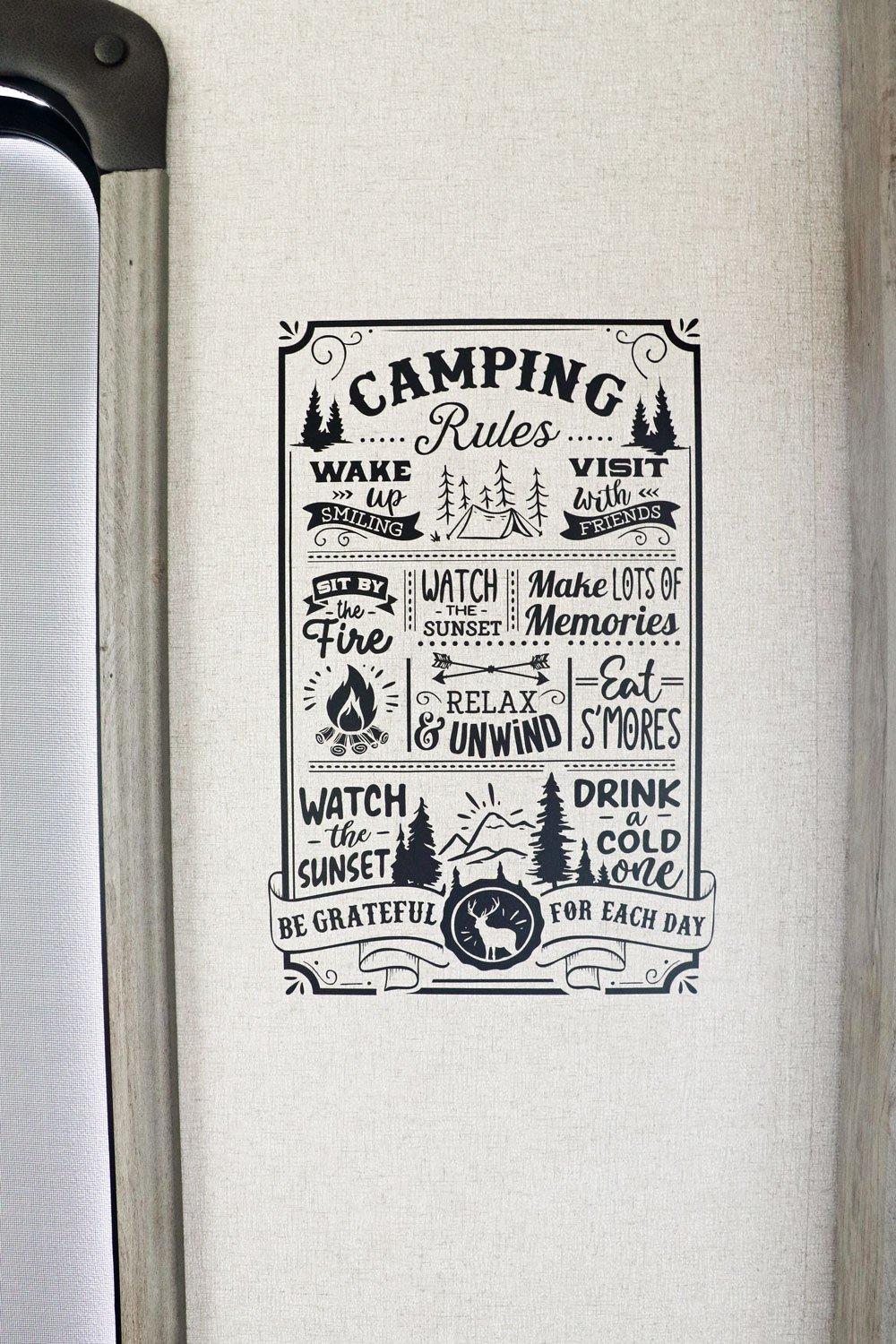 camping rules RV decal