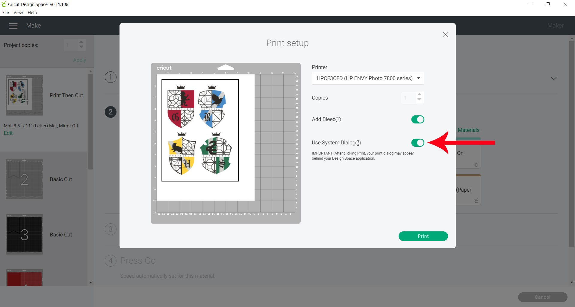 use system dialog to print