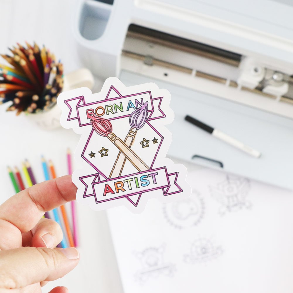 coloring page stickers made with Smart Sticker Paper Cardstock