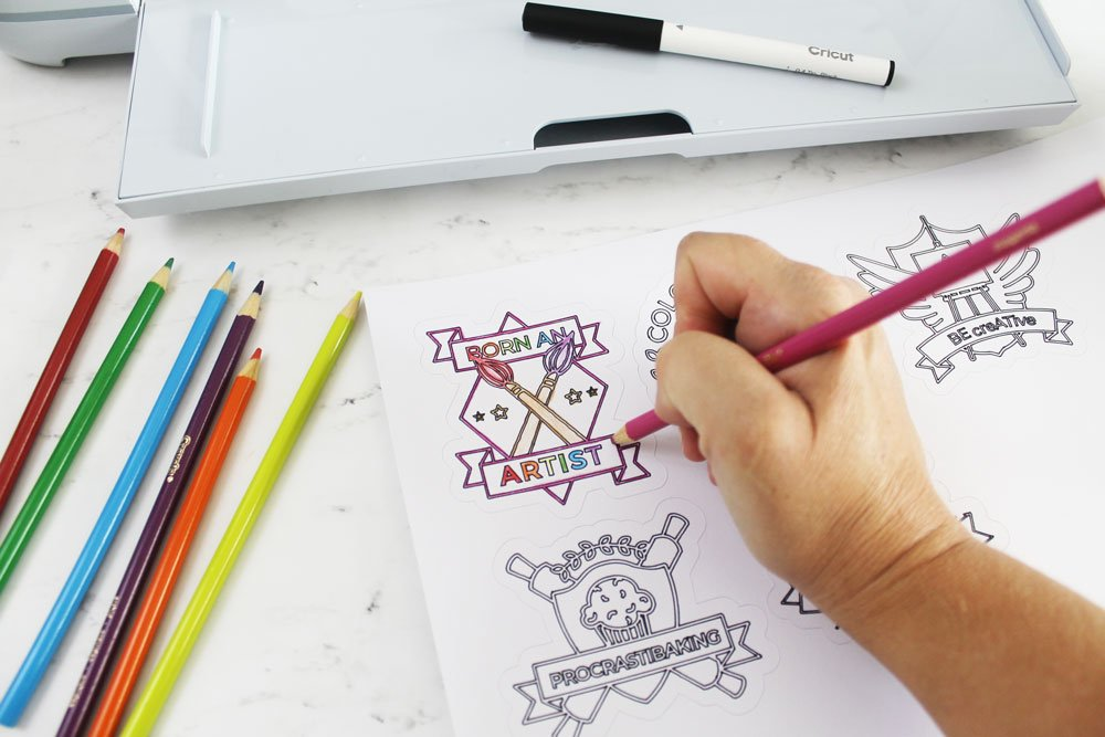 coloring page stickers with Cricut Maker 3