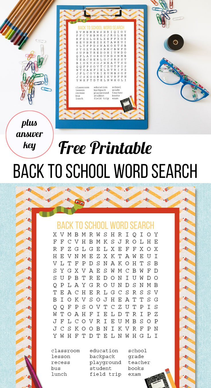 free printable back to school word search and answer key