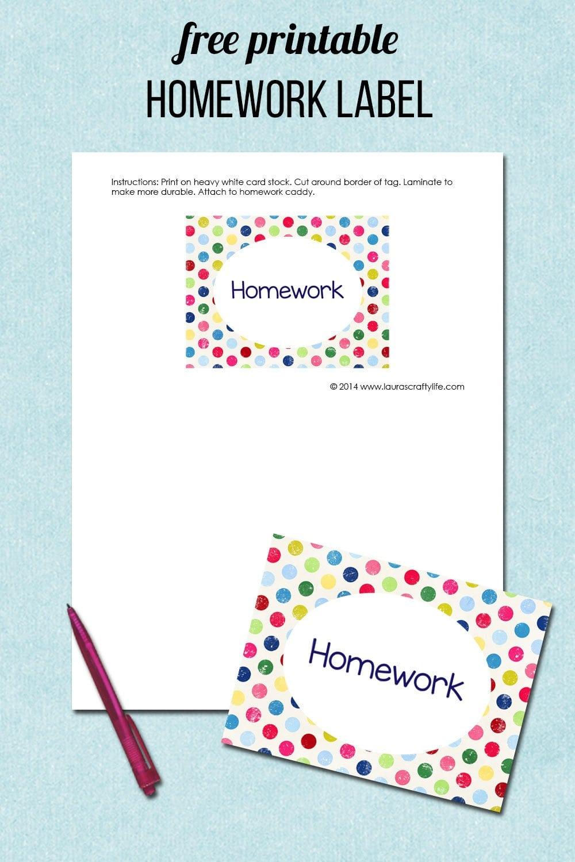 free printable homework label