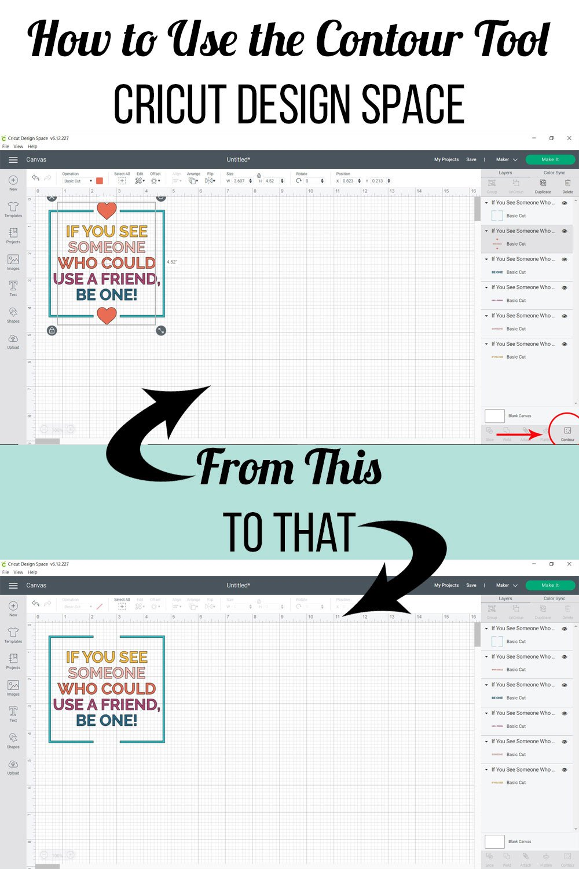 remove part of image using contour tool cricut design space