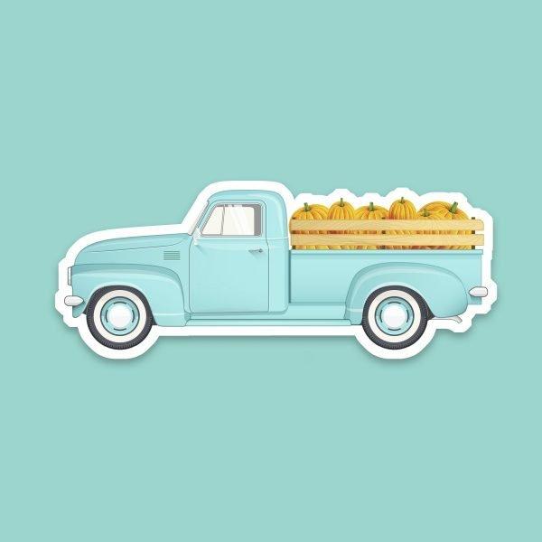vintage truck pumpkins sticker