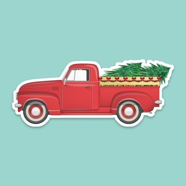 red vintage truck Christmas trees stickers