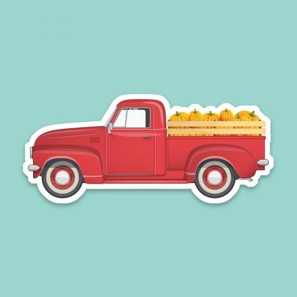 red vintage truck pumpkin sticker
