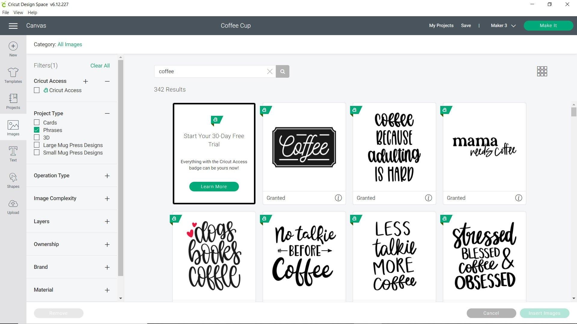 coffee phrases Cricut Design Space