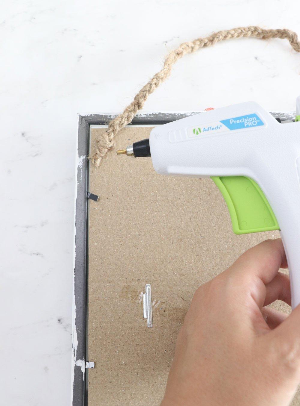 hot glue to attach braided hanger