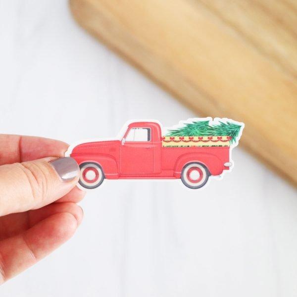 red truck tree sticker