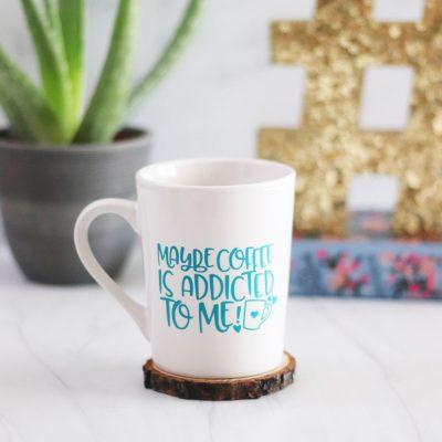 vinyl coffee mug made with Cricut