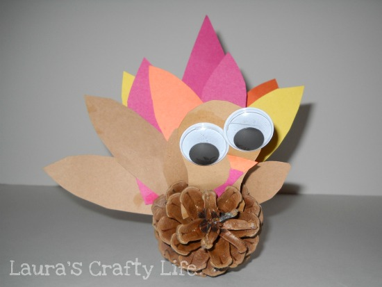 pine cone turkey with huge google eyes