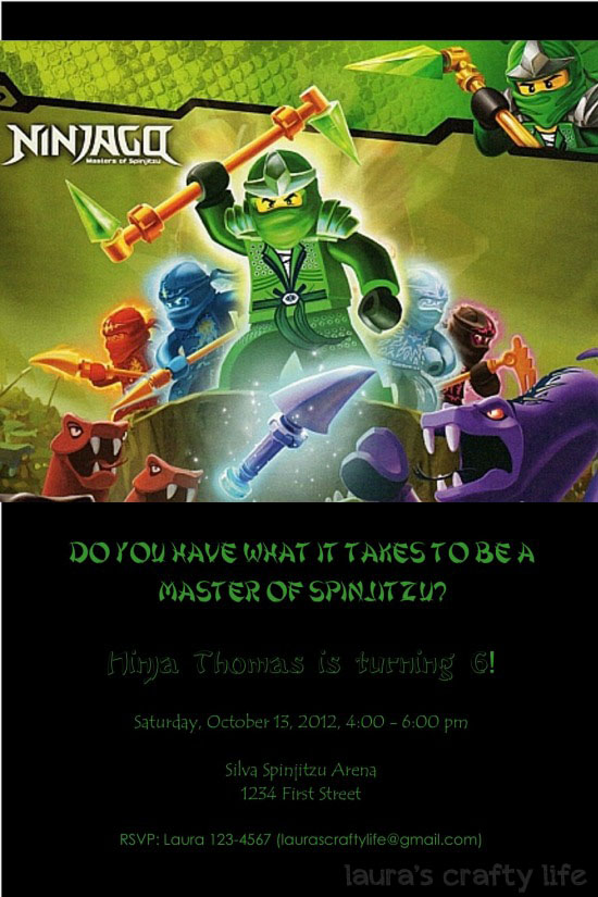 Ninjago Party Invitation