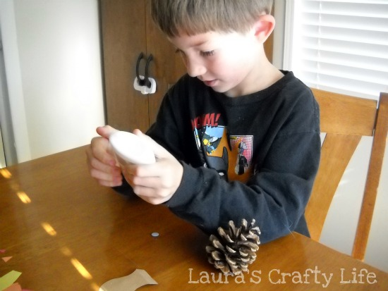 using glue for pine cone turkeys