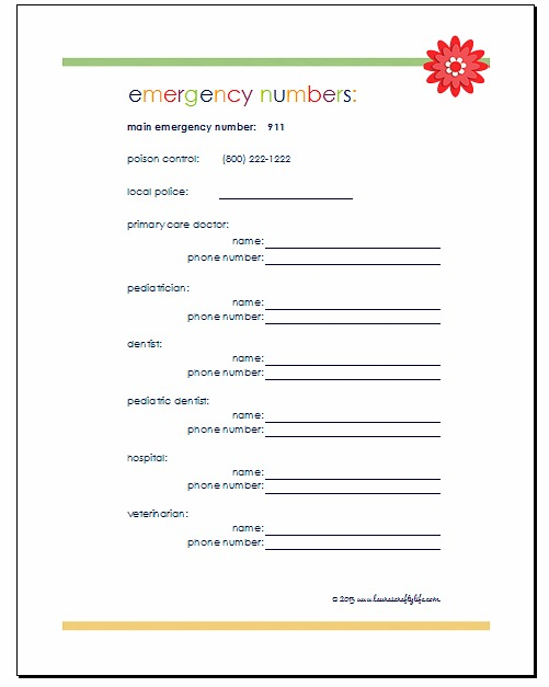 Emergency Phone Numbers  Emergency Phone Number List Template