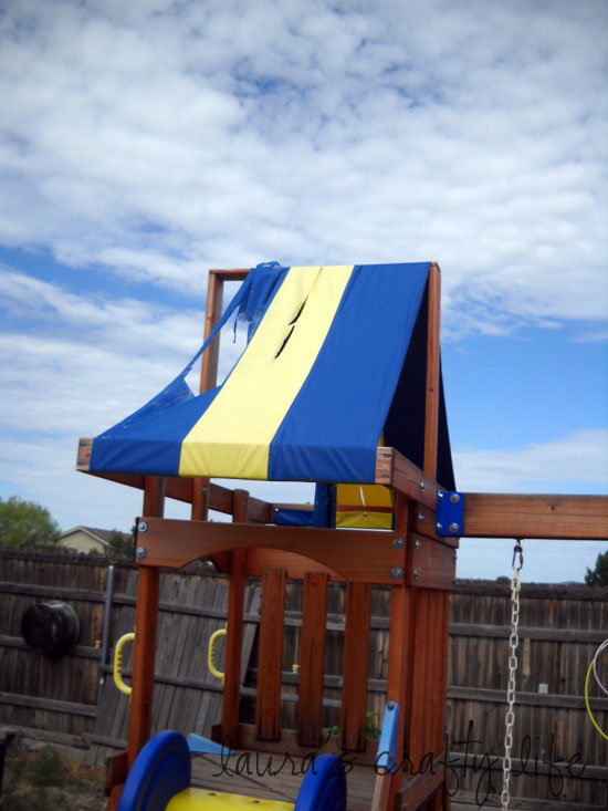 ... I cut out and sewed a new canopy. It was basically just a giant rectangle. I used one finished edge so I only had to finish the other three. & Swing Set Renovation - Laurau0027s Crafty Life