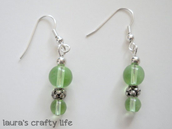 If You Have Been Scared To Create Earrings Don T Be These Were Very Simple Make Each Earring I Used A Silver Headpin Two Green Gl Beads