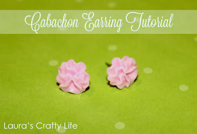 Pink Floral Cabochon Earring Tutorial